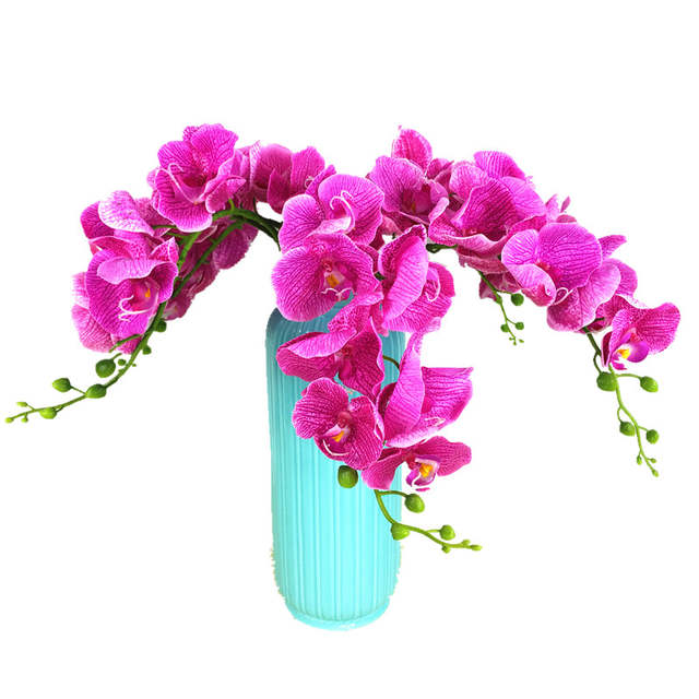 dc14fb8f124 7flowers/Stem - Purple Phalaenopsis Silk Latex Coating Orchid Flower Real  Touch Orchids Wedding Flower Free Shipping