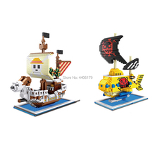 hot LegoINGlys creators one-piece pirate ship THOUSAND SUNNY Going Merry nine snake Submarine micro diamond building blocks toys