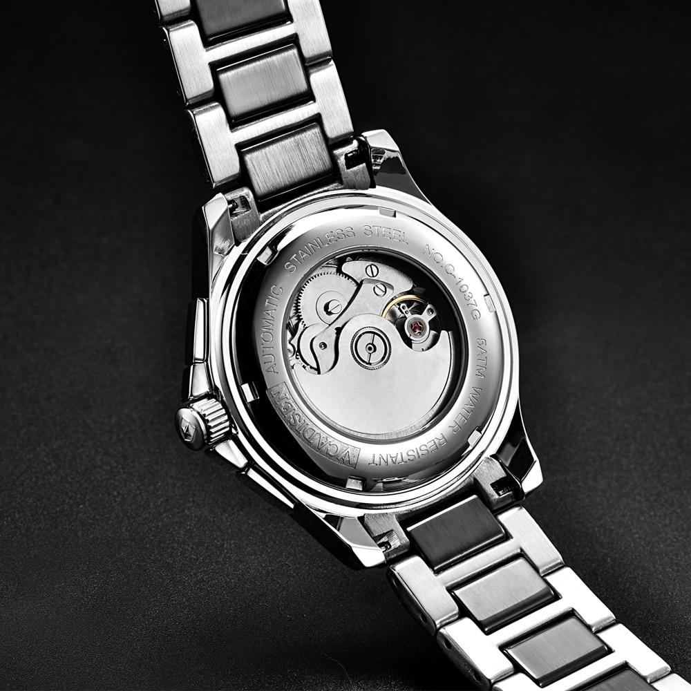 Saatler'ten Mekanik Saatler'de CADISEN erkek saati Otomatik İzle Erkekler Hafta Takvimler Ay Çelik Seramik Su Geçirmez Iş Kol Saati Relogio Masculino'da  Grup 3