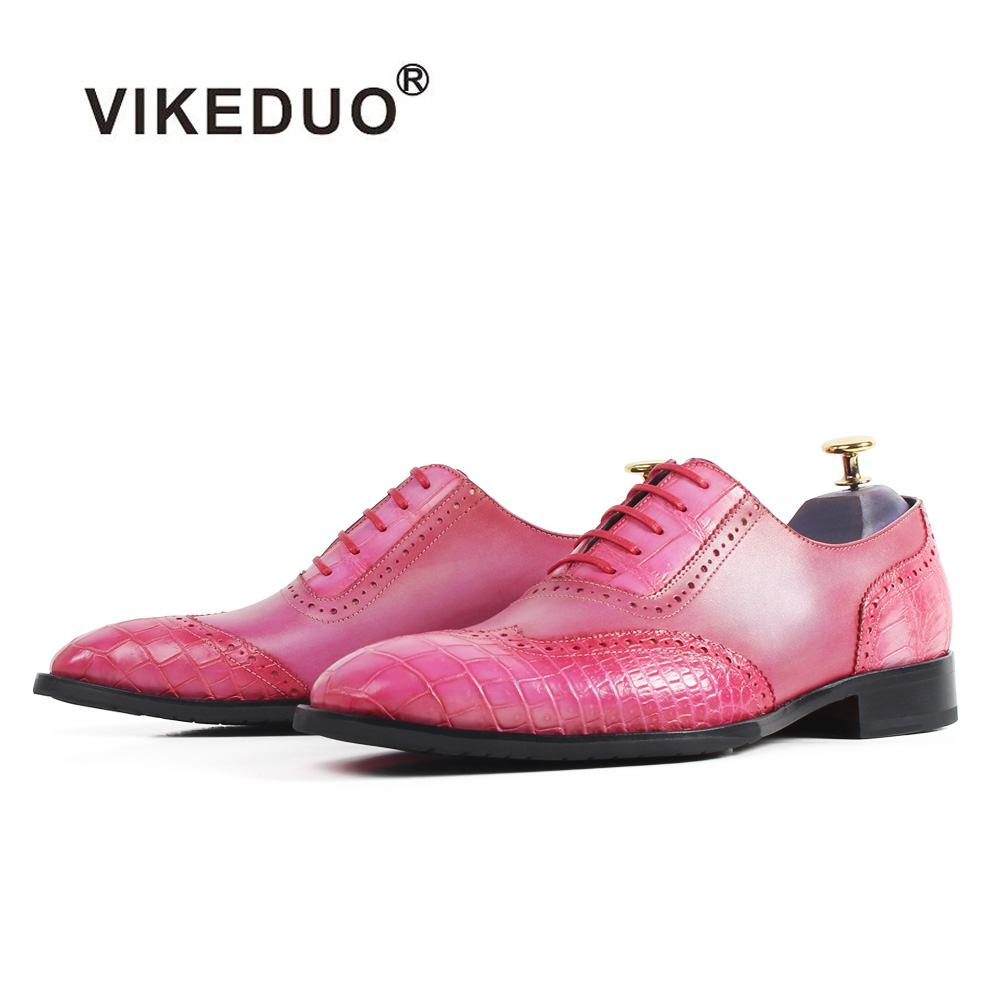 цены Vikeduo Brand New Pink Oxford Dress Shoes For Men 2018 Fashion Genuine Leather Handmade Zapatos Masculino Wedding Business Shoes