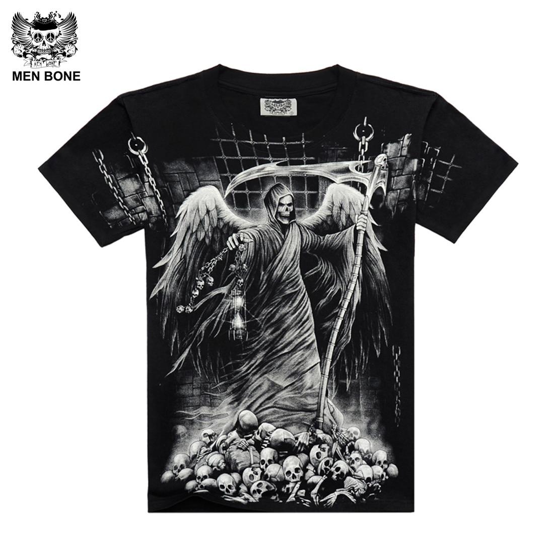 [पुरुषों की हड्डी] नई फैशन अपराध मौत की परी है पुरुषों जंगली टी शर्ट गंभीर लावक Punisher ब्लैक प्रिंट TSHirt