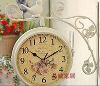 032179 Бесплатная доставка белый птицы с двойным лицом сад часы настенный Декор Mute кварцевые