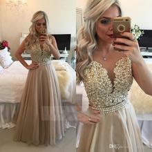 Champagne Durchsichtig Lange Gold Burgund Spitze Organza Abendkleider Applique Prom Kleider 2017 Robe De Soiree EP44