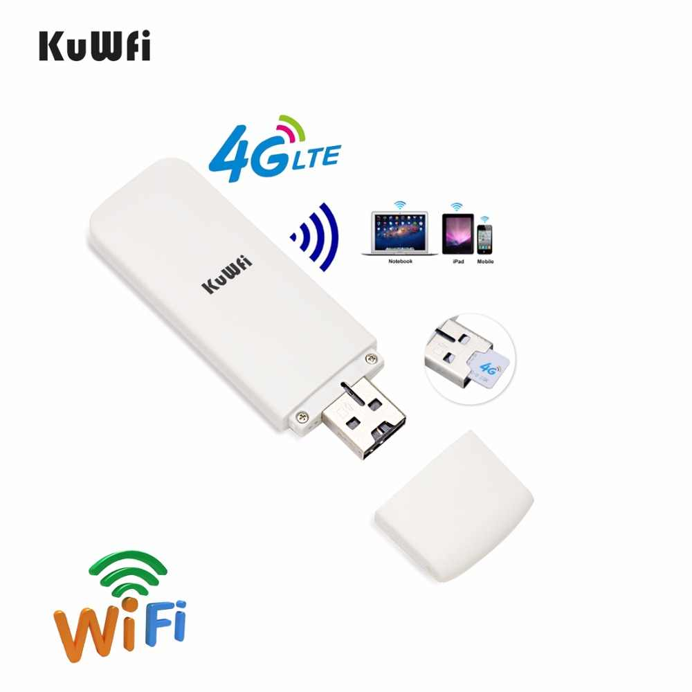 KuWfi مقفلة 4G موزع إنترنت واي فاي USB لاسلكي مودم شبكة WIFI LTE USB شبكة هوت سبوت دونغل دعم USA/CA/المكسيك/الأرجنتين/تشيلي/بيرو