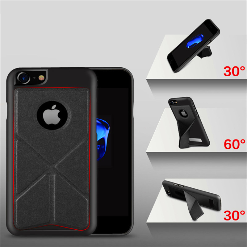 PC+PU Leather Case For iphone 5 5S SE 6 6Plus 7 7 Plus Folding Transformer Fold Stand Holder Phone Back Cover Shell Capa ZDA007