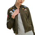 2017 spring embroidery bomber jacket women basic coats olive green black womens jackets and coats biker outwear plus size