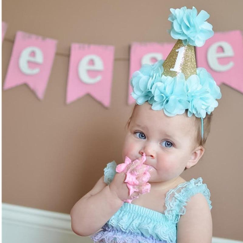 10 հատ / շատ Նոր Baby Girl Gold Cone Crown Headband Ծննդյան ծննդյան Crown Headband