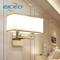 (EICEO) Einfache Europäischen Stil Stoff Doppelwand LED Beleuchtung Modernen Minimalistischen Hotel Schlafzimmer Warmen Wandleuchte Großhandel Licht