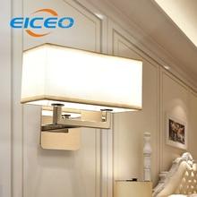 Simple European style of fabric double wall LED modern minimalist hotel bedroom lamp warm wholesale