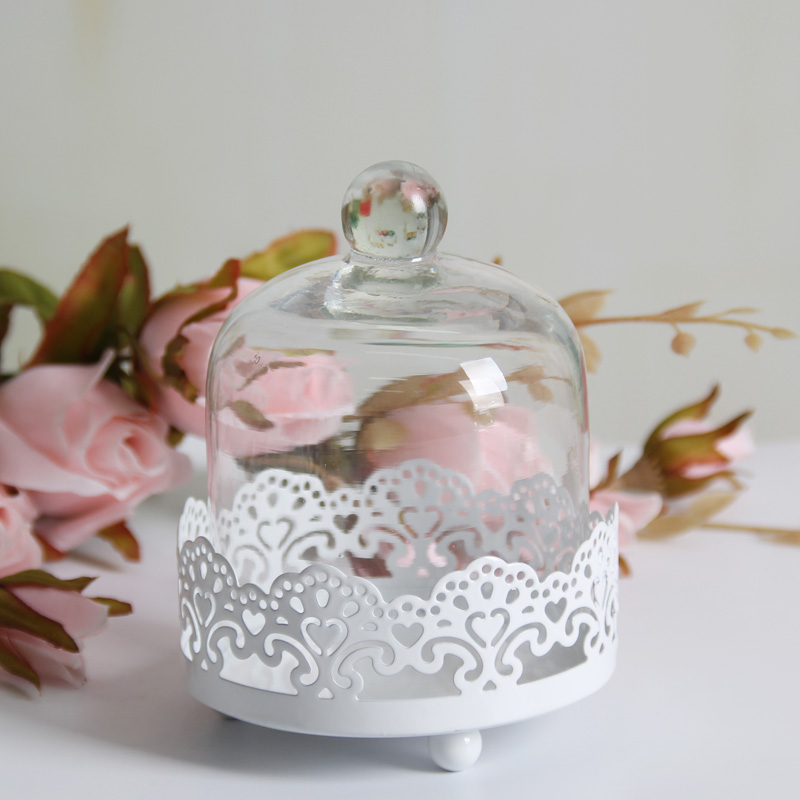 Mini Single Cupcake Stand With Glass Dome Metal Cake