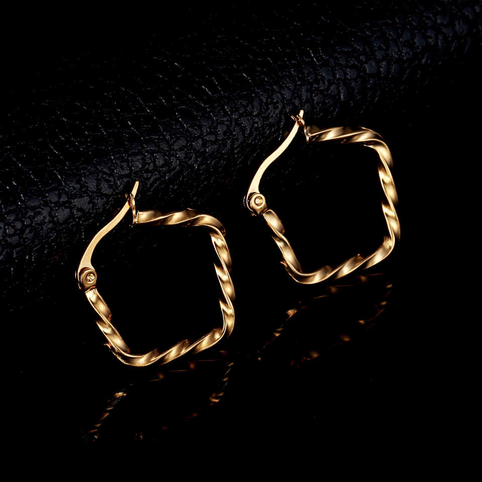 Punk Style Thread Circle Stainless Steel Woman Hoop Earrings Set For Women Nickel Free Party Jewelry Gift  Brincos Aros