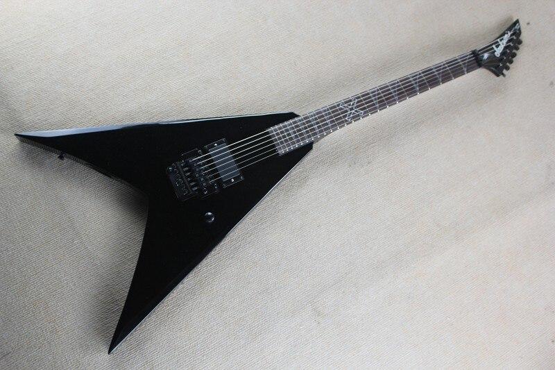 Livraison gratuite boutique personnalisée Top qualité Jackson flying V guitare électrique noire avec micros actifs 14-9-30
