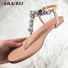 SARAIRIS Brand Design Big Size 35-47 Leisure Crystals Top Quality Beach Women Shoes Summer Flat Shoes Woman Sandals flip&flops цена 2017