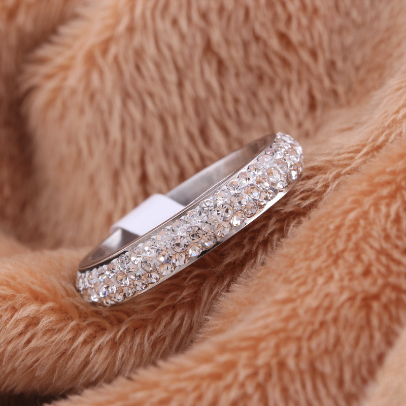Full Size three row clear crystal Stainless steel Wedding rings fashion jewelry Made with Genuine CZ Crystals 16