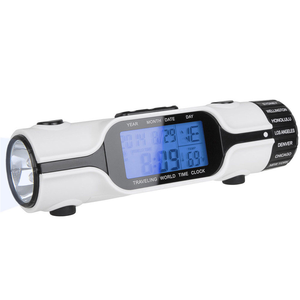 FUNN-World Time Travel Alarm Clock Digital LCD Backlit Screen LED Torch Flashlight