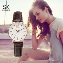 SK Clásico Elegante Banda de Cuero Mujeres Reloj de Cuarzo Vestido de Textura Wave Dial Ladies Relojes de Pulsera de Negocios relogio feminino 2016