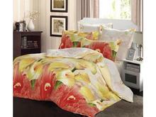 Комплект постельного белья семейный СайлиД, B, красный, с цветами