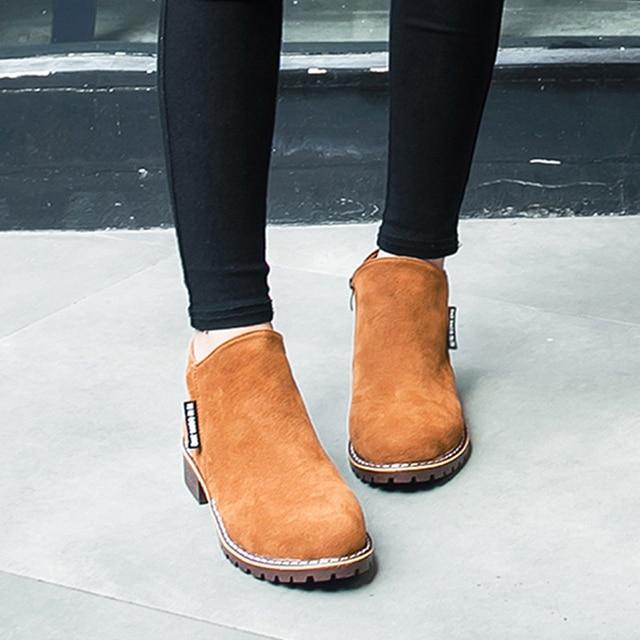 Kadın martin çizmeler süet sonbahar kış sıcak kısa çizmeler ayakkabı kadın feminina kadın motosiklet ayak bileği çizmeler kadın botas mujer