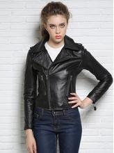 Autumn black street fashion motorcycle genuine leather jacket womens sheepskin coats high quality short clothes slim england 3XL