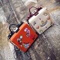 Роскошные высокое качество замок ретро дизайн одежды мини щитка женщин сумки pu кожи плеча box Crossbody сумка