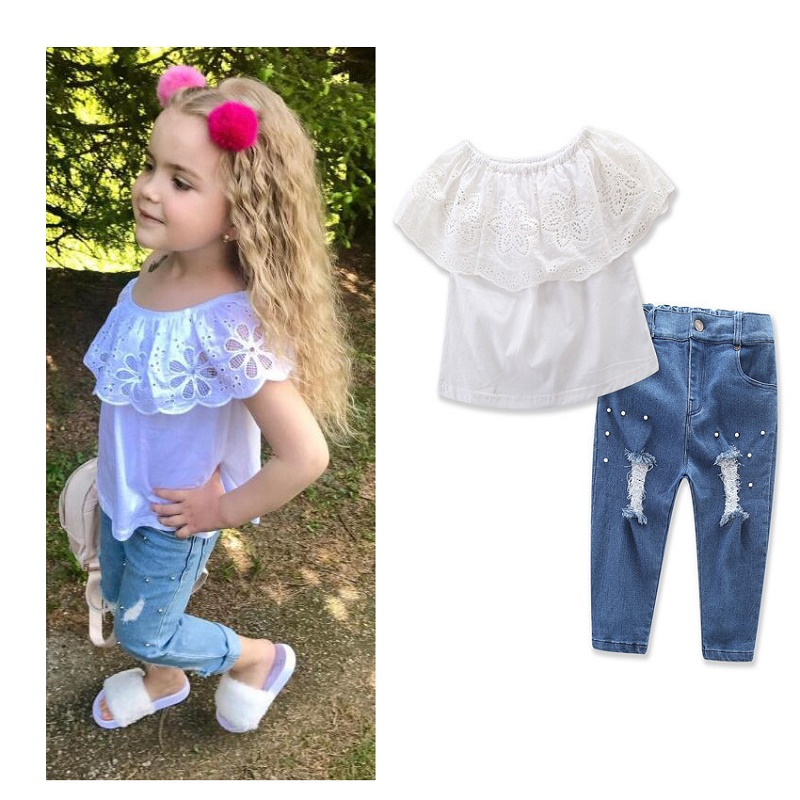 Fashion summer short-sleeve Baby girls clothing set 2pcs baby Outfits denim suit white shirts+Jeans Pants children clothing sets off shoulder tops t shirts denim pants hole jeans 3pcs outfits set clothing fashion baby kids girls clothes sets