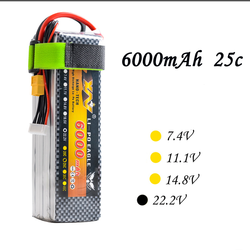 High Quality RC Battery 22.2V 6000mAh 25C Max 55C 6S 6Cells 22.2Volt RC LiPo Li-Poly Battery for Helicopters Quadcopter RC drone кабель tripplite p004 006 ac power