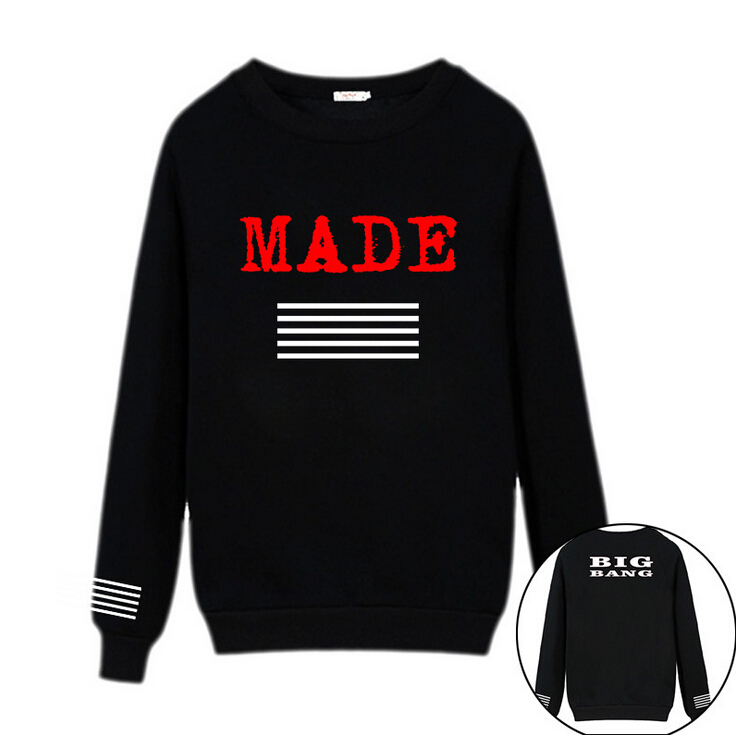 Made Bigbang long sleeve Hooded sweatshirt Big Bang Theory g-dragon bigbang GD Sportswear Loose Round neck Layer Kpop