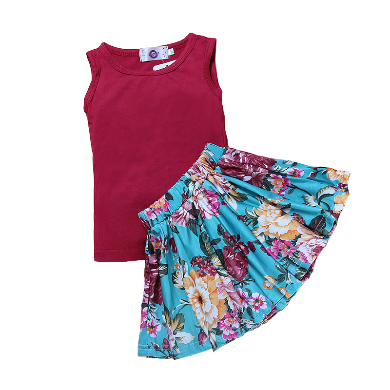 Casual Summer Kids Girls Clothing Sets Printed O-Neck Sleeveless T-Shirts+Solid Dress 2 Pcs Girls Clothes Sets Skirts Suits 2018 new fashion summer girls children clothing sets sleeveless t shirt red tank top vest skirts 2psc girls clothes suits