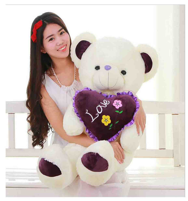 Plush Toy Teddy Bear Hug Heart LOVE Bear 100% Cotton Valentineu0027s Day Gifts  80cm/