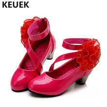 NEW Children Dance Shoes High-heeled Leather Girls Princess Fashion Party Moccasins Baby Kids Single 04