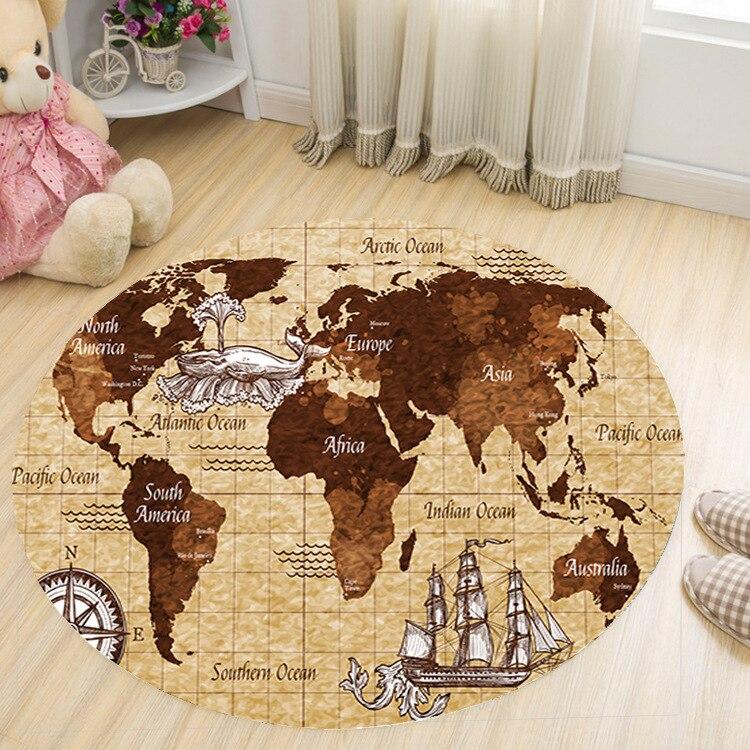 World Map Carpets Rug Bedroom Kids Baby Play Crawling Mat