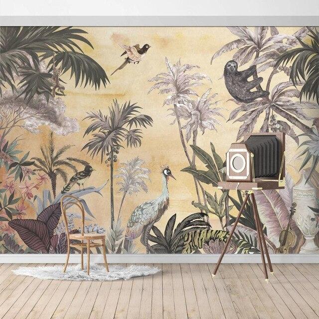 En Venta Bosque De Selva Papel Pintado Mural Animales Beige La Pared