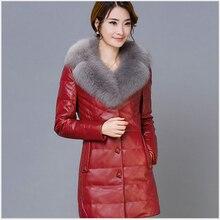 Korea New Fashion Women Winter Leather Elegant High-end Duck down Warm Fur collar Coat Women Slim Big yards Leisure Coat G2311