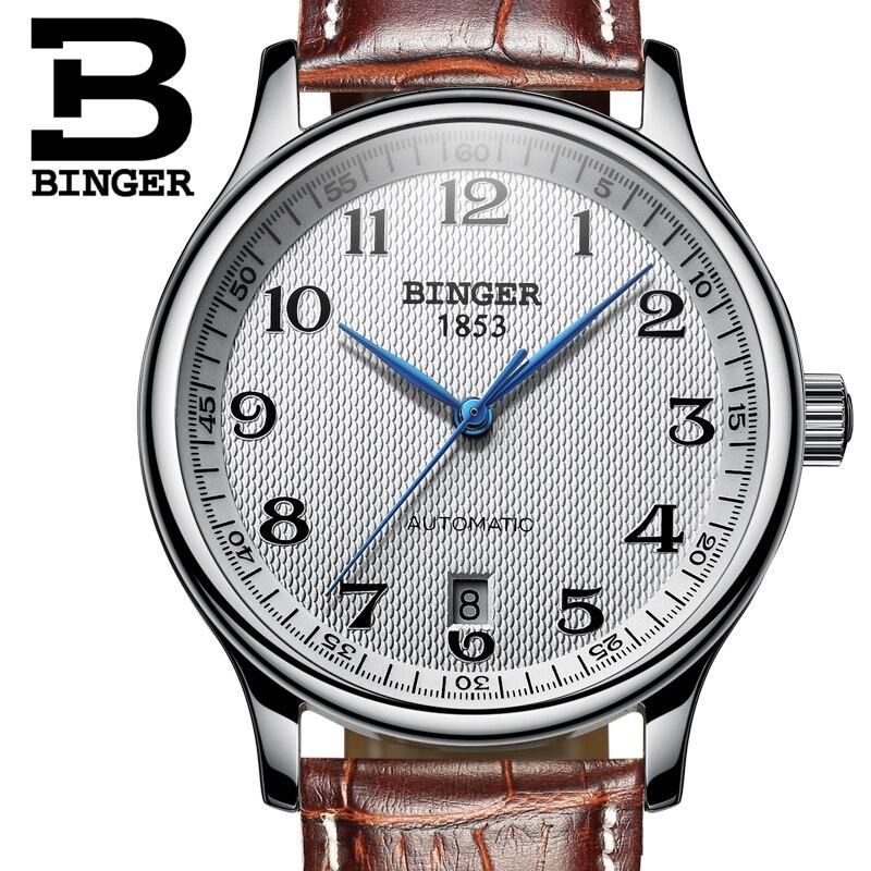 Saatler'ten Mekanik Saatler'de Kol saatleri BINGER İş Mekanik Kol Saatleri safir tam paslanmaz çelik erkek saatler Su Geçirmez BG 0379'da  Grup 2