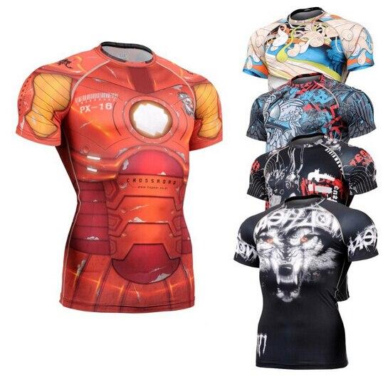 Sommer Männer Compression T Shirts Bodybuilding Haut Engen Kurzen Trikots Kleidung MMA Crossfit TURNHALLE Gewichtheben Running Shirts