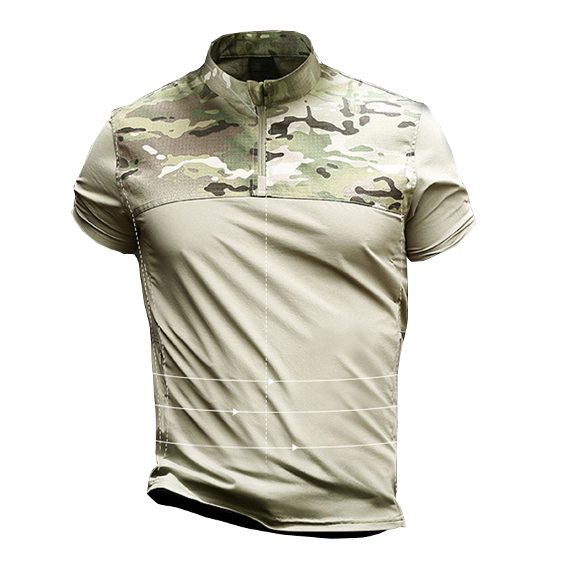Men Summer Outdoor Elastic Breathable Tactical Stand Collar T shirt Military Camouflage Quick Dry Short Sleeve Pullover Shirt