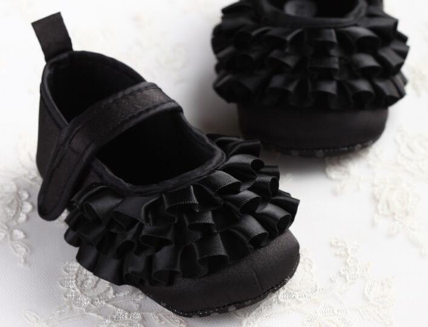 Baby Shoes Girls Newborn Blk Swan Satin Infant Shoes Prewalkers Little Girls Crib Shoes Non-slip Footwear Christenning Wedding