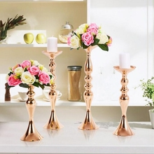 Gold Candle Holders 50cm/20″ Metal Candlestick Flower Vase  Table Centerpiece