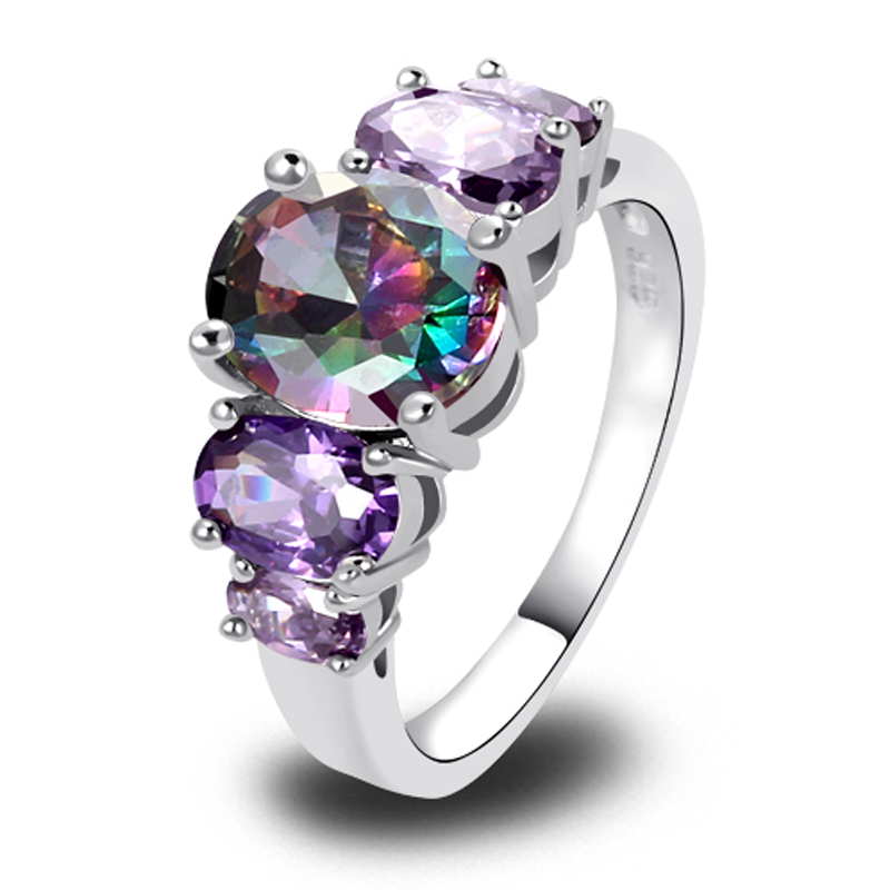 Rings: JROSE Women Fashion Mysterious Oval Cut Rainbow Topaz Amethyst Silver Ring Size 6 7 8 9 10 11 12 13 Engagement Jewelry Wholesale