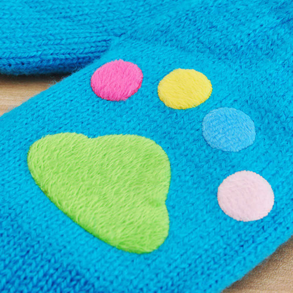 Telotuny เด็กวัยหัดเดินน่ารัก 1 ถึง 6 ปี) thicken Multicolor พิมพ์เด็กร้อนเด็กอุ่นถุงมือตอนนี้ 7