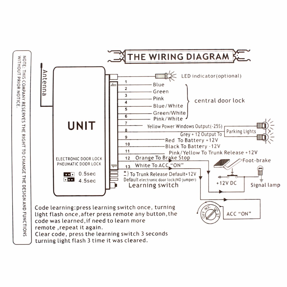 Central Door Locking System Wiring Diagram - Wiring Diagram
