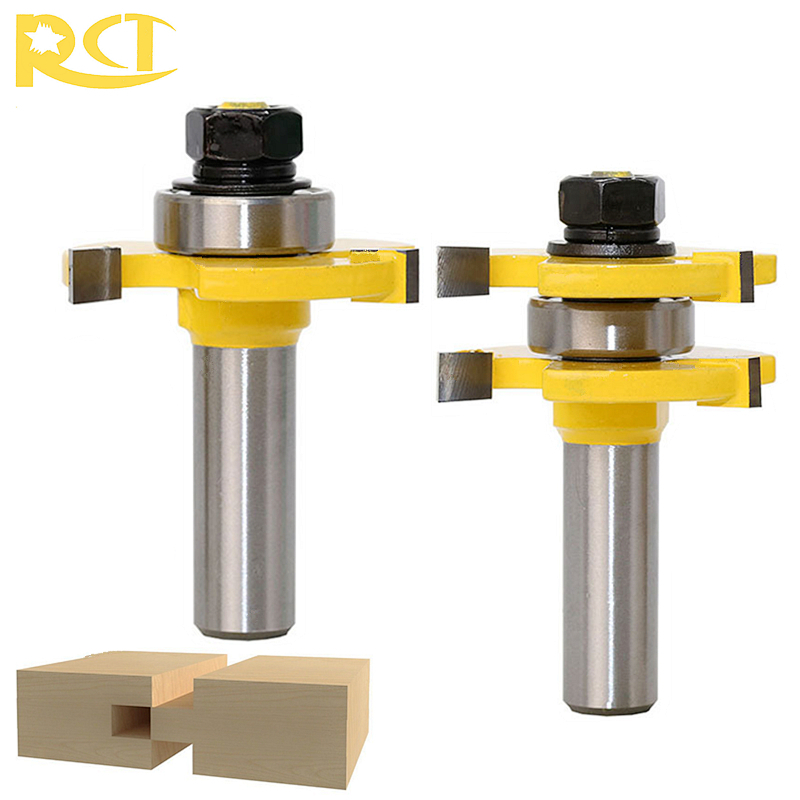 RCT 2pcs/set T-style Tongue Groove Router Bit Milling Cutters 1/2'' Shank Wood Cutter For Wood Flooring Panel Doors Tools 1 2 5 8 round nose bit for wood slotting milling cutters woodworking router bits