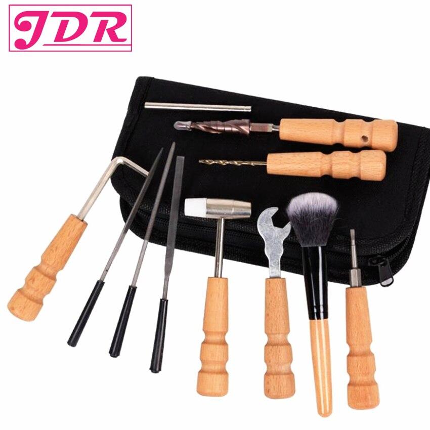 JDR guitare outils de réparation sac ensemble entretien guitare propre fichier Kit ecrou fichiers règle Turner jauge outil chaîne enrouleur 13 pièces/ensemble