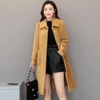 HANZANGL Winter Women Wool Coat Gold Velvet Woolen Coat New Imitation Mink Cashmere Coat Office Lady Parka Long Outwear