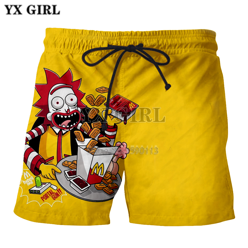 Yx Girl Casual Unisex Rick And Morty Mens Summer Casual Shorts Cartoon 3d Print Loose Shorts Casual Shorts