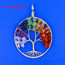 2016 New 7 Stone Pendant Various Natural Life Tree Pendulum Accessories European Fashion Jewelry 20X Mix Order