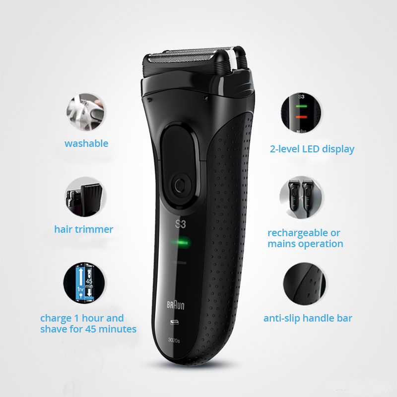 Orignal Braun Series 3 Electric Razors 3020S Blades Reciprocating Shaving Machine Electric Shaver For Men Hair Trimmer - 2