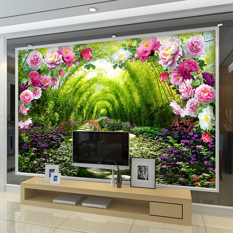 Custom Wall Murals Non Woven Printing Wall Paper Painting Bright Peony  Florals Living Room Bedroom Decor Wallpaper For Walls 3d  In Wallpapers  From Home ... Part 79