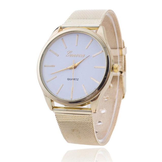 Gold Mesh Stainless Steel Watches Women GENEVA Brand Luxury Casual Clock Ladies