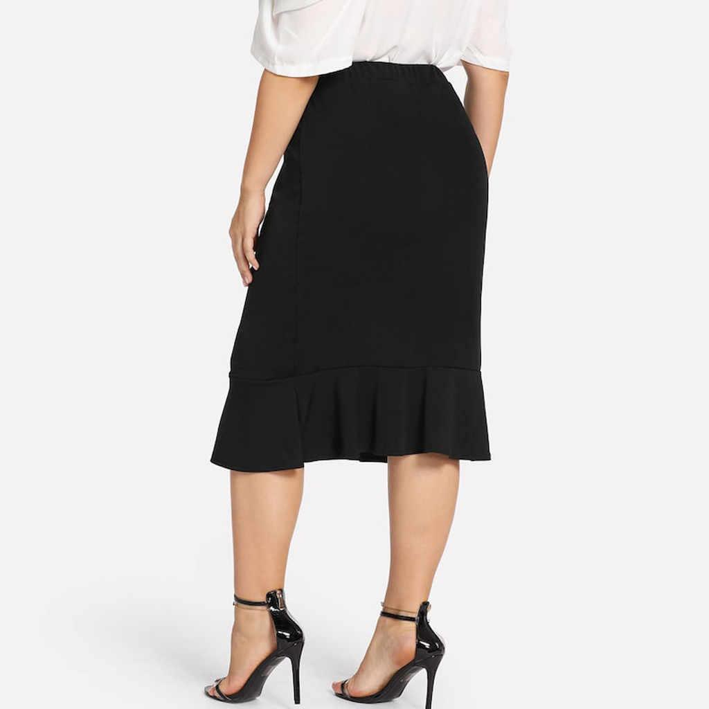 2019 XL-5XL נשים חצאית האופנה OL Slim Bodycon עסקים ללבוש ראפלס משרד סגנון בתוספת גודל גבירותיי משרד חצאית לספירה
